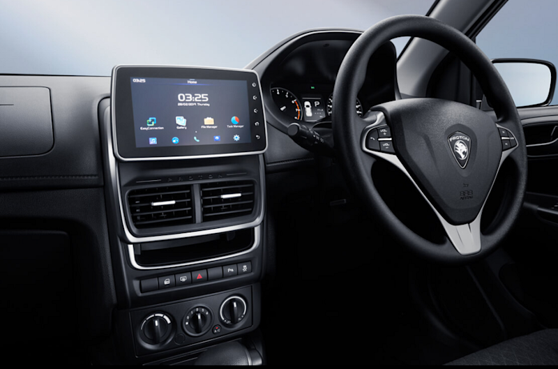 One of the cooler high-tech additions to the car — the 7-inch, smartphone compatible, infotainment system. — Screen capture via Proton.com