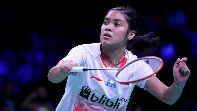 Tunggal putri Indonesia, Gregoria Mariska Tunjung, kalah dari Saina Nehwal 11-21, 12-21, pada semifinal Denmark Terbuka 2018, Sabtu (20/10/2018). (PBSI)