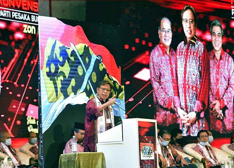 Sarawak Chief Minister Datuk Patinggi Abang Johari Openg delivers a speech during the opening ceremony of the Parti Pesaka Bumiputera Bersatu mini-convention in Betong September 26, 2020. — Bernama pic