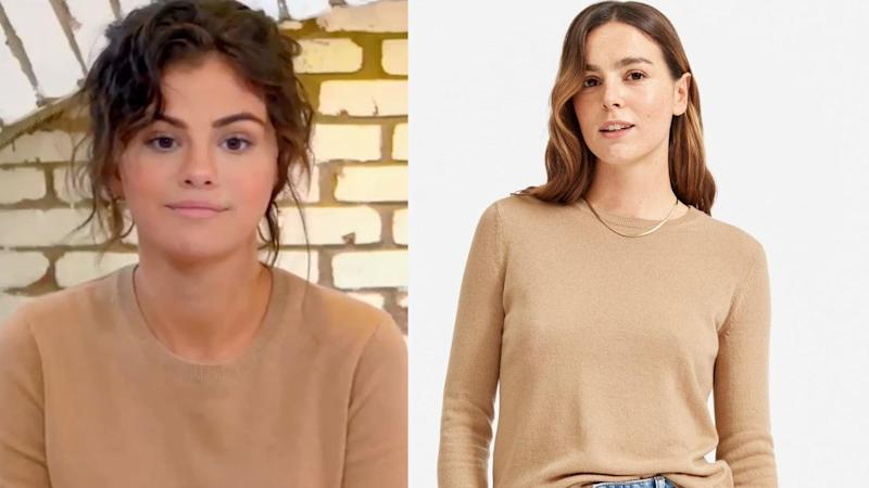 Selena Gomez wearing Everlane. Images via HBOMAX/Instagram and Everlane)
