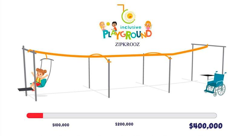 The ZipKrooz will be one of the first pieces of equipment in the inclusive playground.