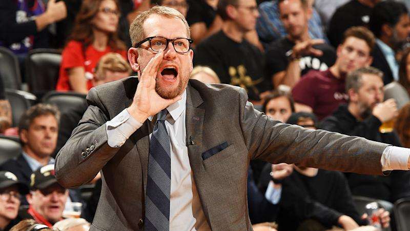 Toronto Raptors head coach Nick Nurse became the first to use the NBA's new coach's challenge, when the Raptors took on New Orleans. (Photo by Ron Turenne/NBAE via Getty Images)