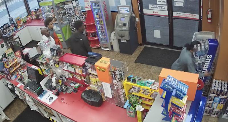 The attendant collapses of a heart attack at the Washington petrol station