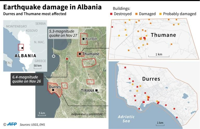 Map locating earthquake damage in the Albanian cities of Durres and Thumane