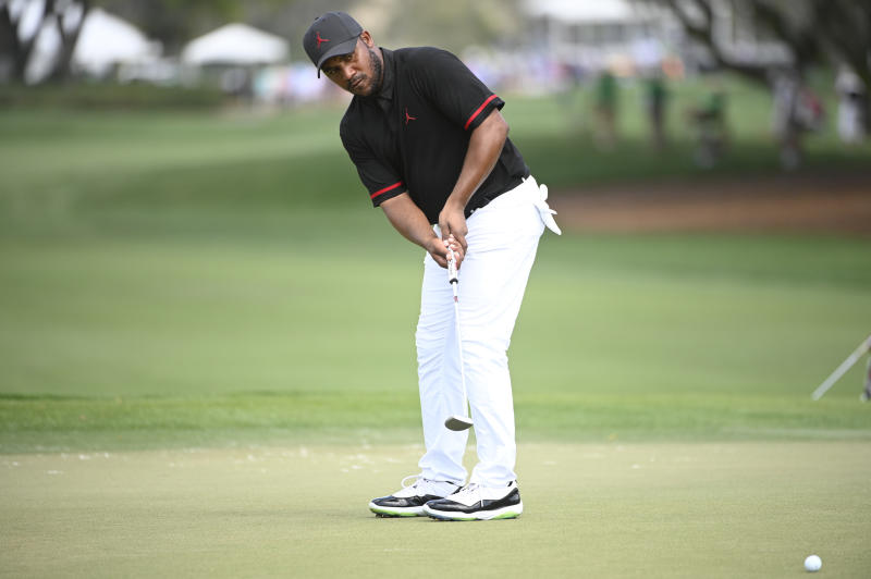 FILE - In this March 5, 2020, file photo, Harold Varner III watches his putt on the ninth green during the first round of the Arnold Palmer Invitational golf tournament in Orlando, Fla. Varner, one of three players of black heritage on the PGA Tour, wrote a thoughtful post about the killing of George Floyd and the civil unrest. (AP Photo/Phelan M. Ebenhack, File)