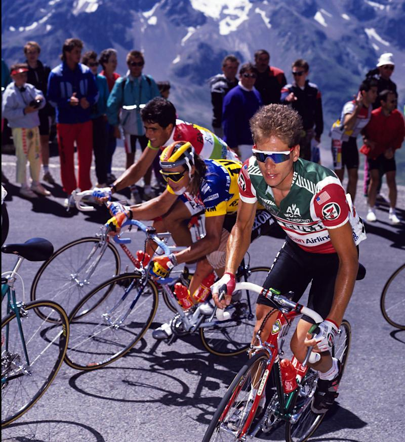 The likes of 7-Eleven's Andy Hampsten (right, in Oakley Razor Blades), and TVM's Phil Anderson (centre, in Oakley's larger-coverage Eyeshades) – pictured during the 1989 Tour de France, alongside a rare sighting of future Tour winner Miguel Indurain in the race's combined classifications jersey – helped popularise American sunglasses brand Oakley