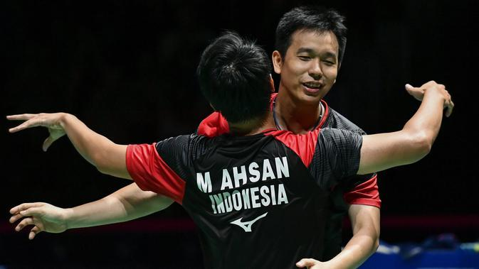 Ganda putra Indonesia Hendra Setiawan/Mohammad Ahsan. (FABRICE COFFRINI/AFP)