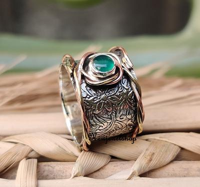 925 Stamped Sterling Silver Green Onyx Old Style Ring Sz 11.25 Ladies Jewelry Collection Factory Direct Online Jewellery Store Gift For Wife