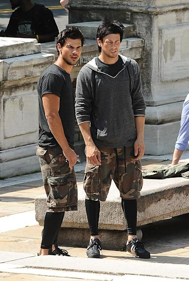 Taylor Lautner on the set of 'Tracers' in NYC
