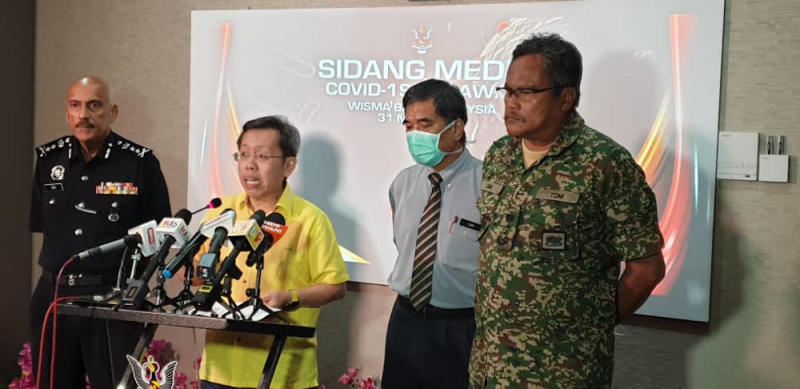 Local Government and Housing Minister Datuk Sri Dr Sim Kui Hian speaks to reporters after chairing the state Disaster Management Committee meeting, March 31, 2020. — Picture courtesy of Sarawak Deputy Chief Minister's Office