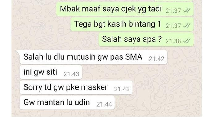 Chat Ojek Online saat Bertemu Mantan (Sumber: Instagram//dramaojol.id/)