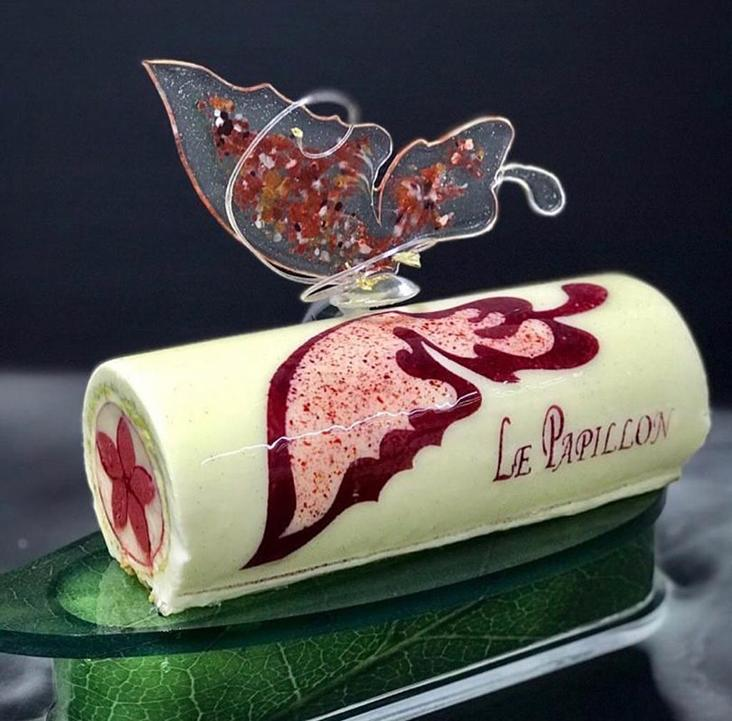 At the World Pastry Cup, Loi created 'Le Papillion' as a larger ice cream cake complete with a spun sugar butterfly wing — Picture courtesy of Loi Ming Ai's Instagram