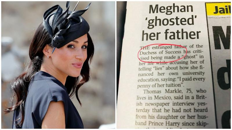 Meghan Markle has been caught up by a newspaper's typo. Photo: Getty/Twitter