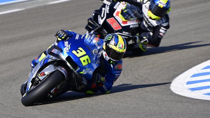 Joan Mir saat mengikuti lomba MotoGP Jerez, Minggu (20/7/2020). (JAVIER SORIANO / AFP)