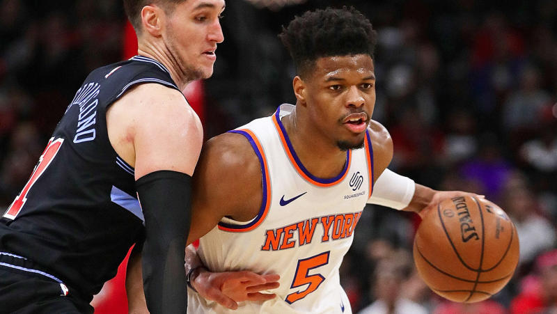 Dennis Smith Jr. #5 of the New York Knicks. (Photo by Jonathan Daniel/Getty Images)