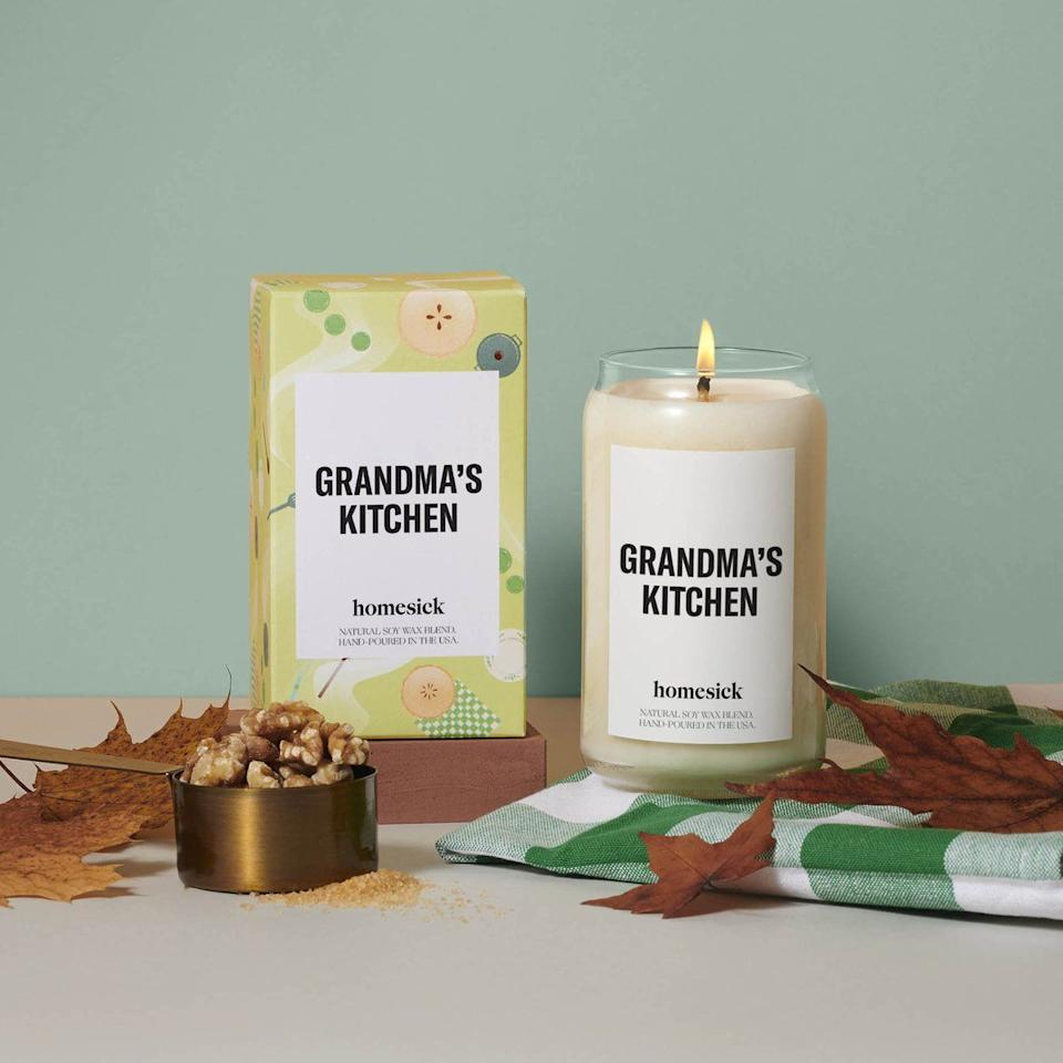 """<p><strong>Shop Fall Favorites</strong></p><p>homesick.com</p><p><strong>$34.00</strong></p><p><a href=""""https://go.redirectingat.com?id=74968X1596630&url=https%3A%2F%2Fhomesick.com%2Fcollections%2Ffall-favorites%2Fproducts%2Fgrandmas-kitchen-candle&sref=https%3A%2F%2Fwww.housebeautiful.com%2Fshopping%2Fg33956363%2Fhomesick-candles-fall-favorites-collection-pumpkin-apple%2F"""" target=""""_blank"""">BUY NOW </a></p><p>Featuring notes of all the ingredients in the best baked goods (think butter, cream, apple, cinnamon, vanilla, etc.), this candle smells like warm apple pie with vanilla ice cream and freshly baked snickerdoodles. </p>"""