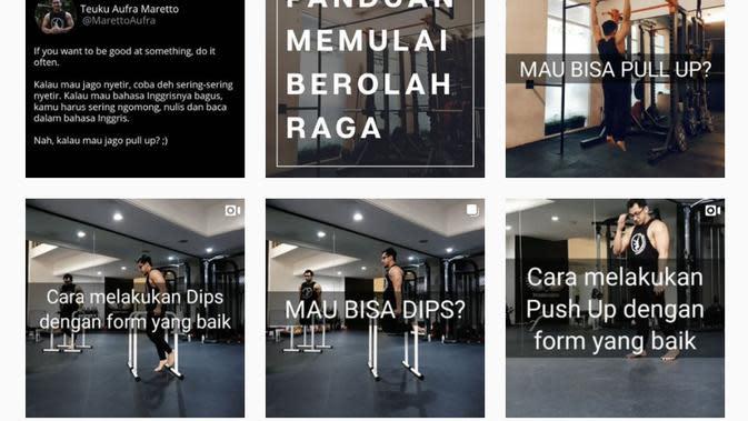 Mendapatkan badan yang bagus dengan rutin melakukan olahraga menggunakan berat badan sendiri. Beberapa jenis latihan yang bisa kita lakukan di rumah ada di Instagram pribadinya Aufra. (Sumber: instagram.com/marettoaufra)