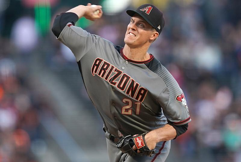 SAN FRANCISCO, CA - JUNE 29: Zack Greinke #21 of the Arizona Diamondbacks pitches against the San Francisco Giants in the bottom of the second inning of a Major League Baseball game at Oracle Park on June 29, 2019 in San Francisco, California. (Photo by Thearon W. Henderson/Getty Images)