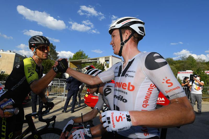 CHAMPAGNOLE FRANCE SEPTEMBER 18 Arrival Soren Kragh Andersen of Denmark and Team Sunweb Jack Bauer of New Zealand and Team Mitchelton Scott Celebration during 107th Tour de France 2020 Stage 19 a 1665km stage from Bourg en Bresse to Champagnole 547m TDF2020 LeTour on September 18 2020 in Champagnole France Photo by Stephan Mantey PoolGetty Images