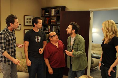 "This publicity photo released by FX shows, from left, Glenn Howerton as Dennis Reynolds, Rob McElhenney as Mac, Danny DeVito as Frank Reynolds, Charlie Day as Charlie Kelly and Kaitlin Olson as Dee Reynolds in Episode 5, ""The Gang Gets Analyzed"" from the TV show, ""It's Always Sunny in Philadelphia,"" which airs Thursday, November 8, 10:00 pm EDT/PDT. (AP Photo, FX, Patrick McElhenney)"