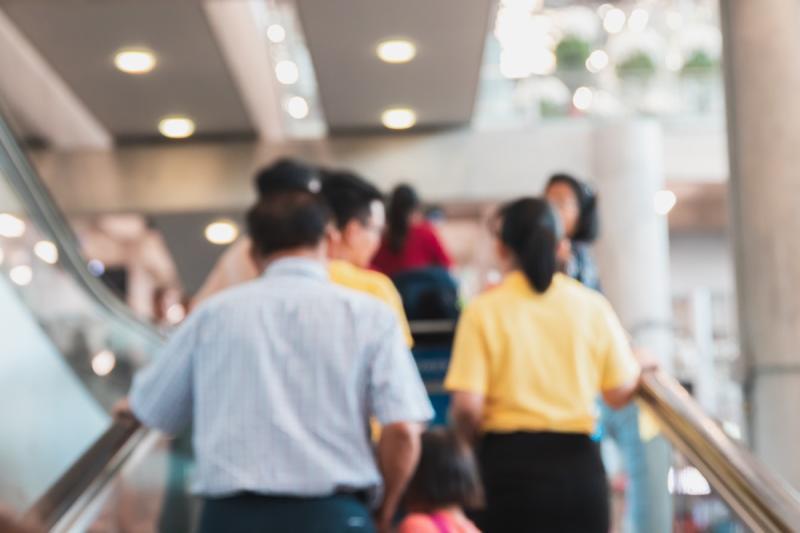 a crowded escalator