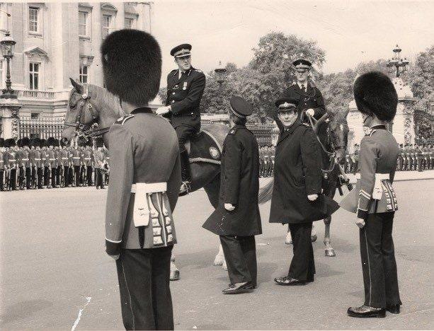 On his horse, left, at the Trooping the Colour in 1982