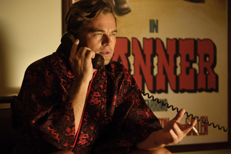 """This image released by Sony Pictures shows Leonardo DiCaprio in a scene from """"Once Upon a Time in Hollywood."""" On Monday, Jan. 13, DiCaprio was nominated for an Oscar for best actor for his role in the film. (Andrew Cooper/Sony via AP)"""