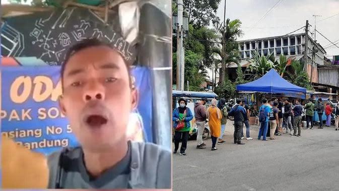 Viral Odading Mang Oleh, Antrean Pembeli Mengular Sampai Dijaga Polisi