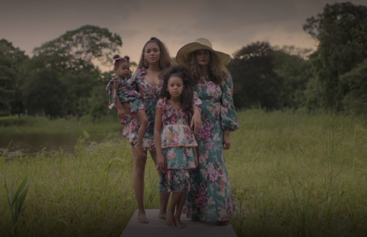"""<p>Both of Beyoncé's twins appear in <em>Black Is King</em>. Rumi coordinates with her mom, sister, and grandmother, Tina Knowles Lawson, in the """"Brown Skin Girl"""" segment of the movie.</p>"""