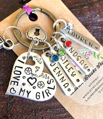 Aunt Teacher Customize Mothers Day Stackable Ring Birthday Friend Gift give Pewter Hand Stamped size 8.25 Mother Wedding