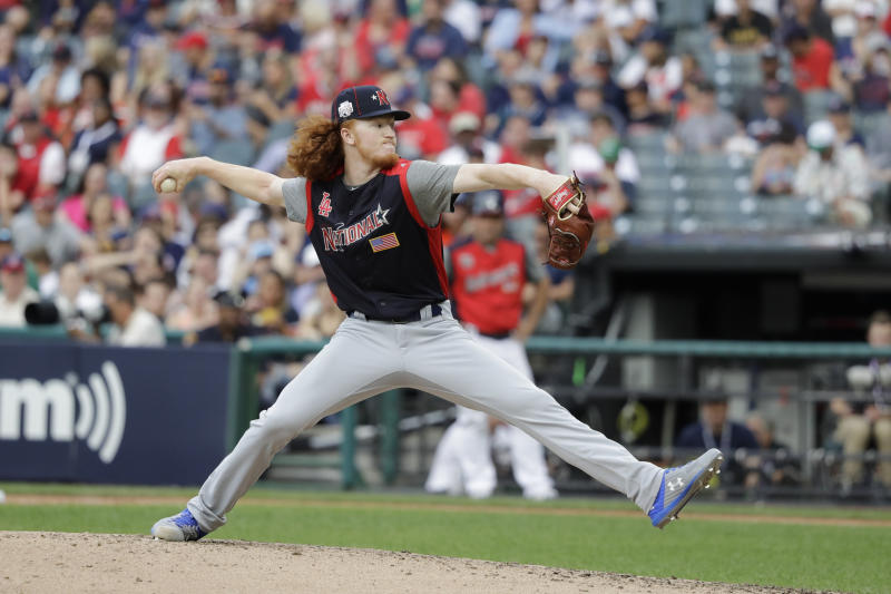 Dustin May, of the Los Angeles Dodgers, throws during the MLB All-Star Futures baseball game, Sunday, July 7, 2019, in Cleveland. The 90th MLB baseball All-Star Game will be played Tuesday. (AP Photo/Darron Cummings)