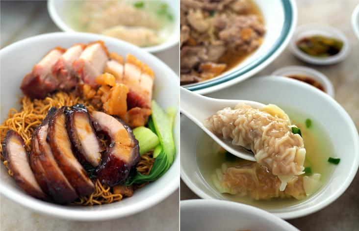The 'char siew' and 'siew yoke' noodles are generously loaded with meat at RM12 for a small portion (left). The eatery makes their own dumplings that are well stuffed with a filling of minced meat and prawns (right)