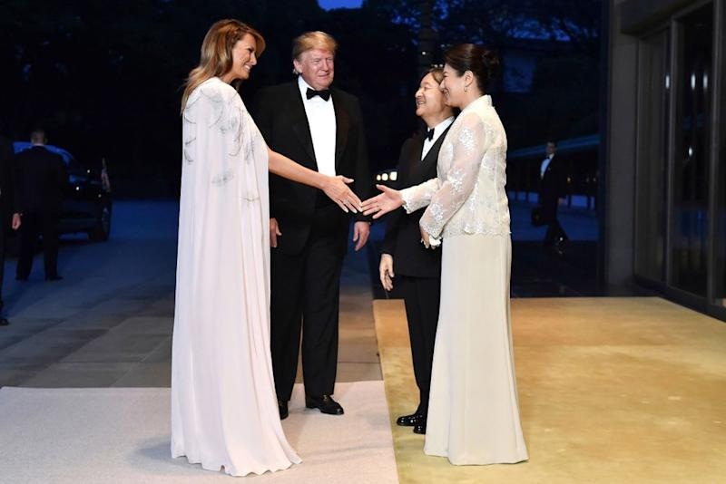 From left: First Lady Melania Trump and President Donald Trump with Emperor Naruhito and Empress Masako at the Japanese Imperial Palace on Monday | Kazuhiro Nogi/AP/REX/Shutterstock