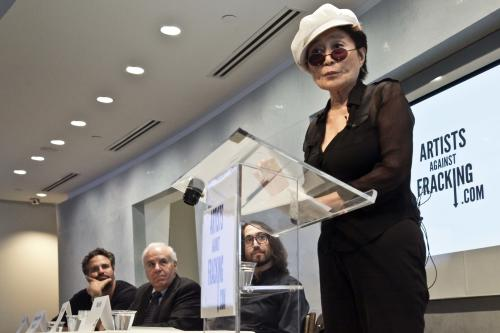 "Actor and activist Mark Ruffalo, far left, Cornell University engineering professor Anthony Ingraffea, second from left, and Sean Lennon, second from right, listens as Yoko Ono speaks during a press conference to launch a coalition of artists opposing hydraulic fracturing on Wednesday, Aug. 29, 2012 in New York. The formation of the group, called Artists Against Fracking, comes as New York Gov. Andrew Cuomo decides whether to allow shale gas drilling using high-volume hydraulic fracturing called hydrofracking. The group says such drilling is harmful and poses the threat of contamination. They say they want to spread awareness of the issue through ""peaceful democratic action."" Cuomo is expected to allow drilling to begin on a limited basis near the Pennsylvania border. The group is comprised of 146 members including Lady Gaga, Paul McCartney and Alec Baldwin. (AP Photo/Bebeto Matthews)"