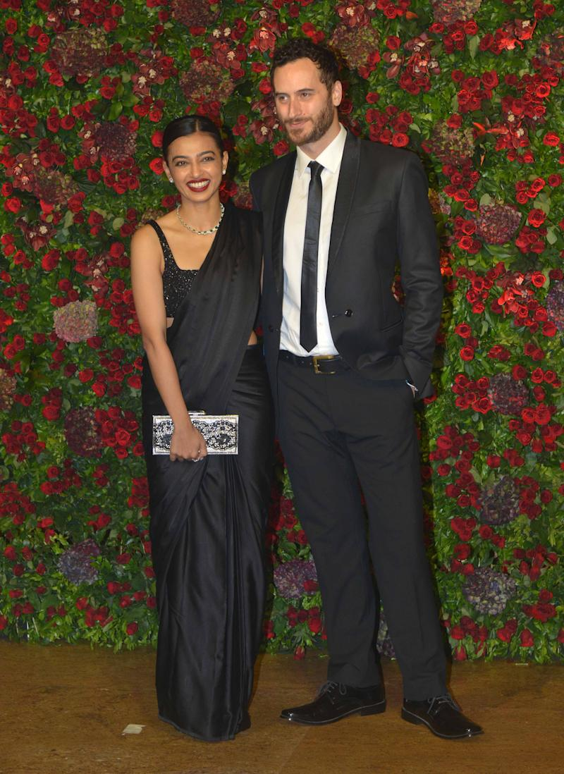 MUMBAI, MAHARASHTRA-DECEMBER 01: Radhika Apte and Benedict Taylor at Ranveer Singh and Deepika Padukones reception in Mumbai. (Photo by Milind Shelte/The India Today Group via Getty Images)