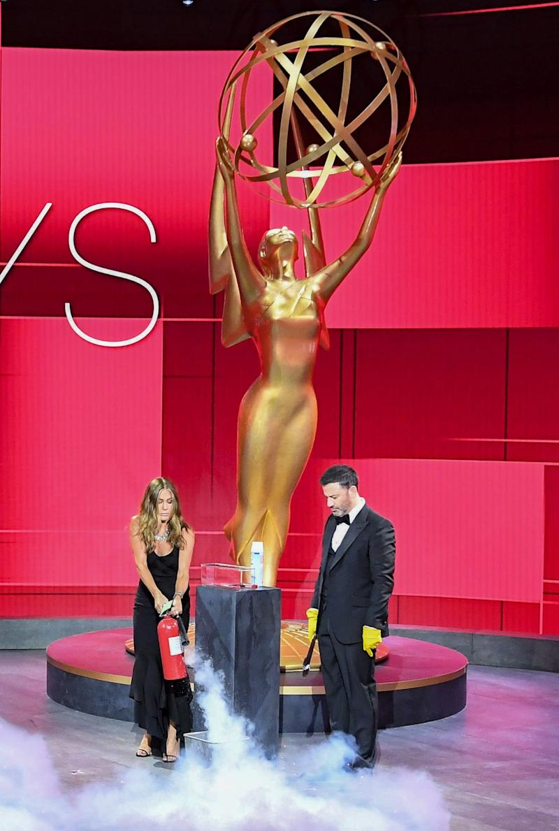 Aniston was quick to put out the blaze (Disney/ABC/Television Academy/AF)