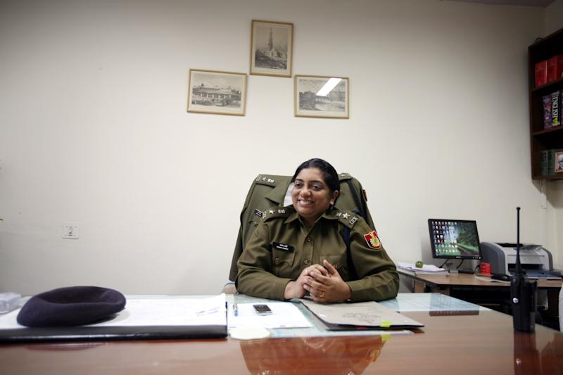NEW DELHI, INDIA - FEBRUARY 18: Chhaya Sharma, additional deputy Commissioner of police, South Delhi, poses for a photo shoot in New Delhi on February 18, 2010. (Photo by Ramesh Sharma/The India Today Group via Getty Images)