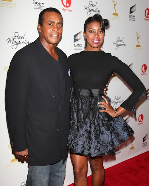 "FILE - This Oct. 3, 2012 file photo provided by Starpix shows actress Condola Rashad, right, and her father, retired football player Ahmad Rashad, at the world premiere of her TV film ""Steel Magnolias,"" at the 2012 New York Film Festival, at The Paris Theater in New York. Orlando Bloom and Condola Rashad will star in a modern take on William Shakespeare's ""Romeo and Juliet"" on Broadway this fall. Producers said Monday, April 1, 2013, that previews at the Richard Rodgers Theatre begin Aug. 24, with an opening night set for Sept. 19. (AP Photo/Starpix, Andrew Toth)"