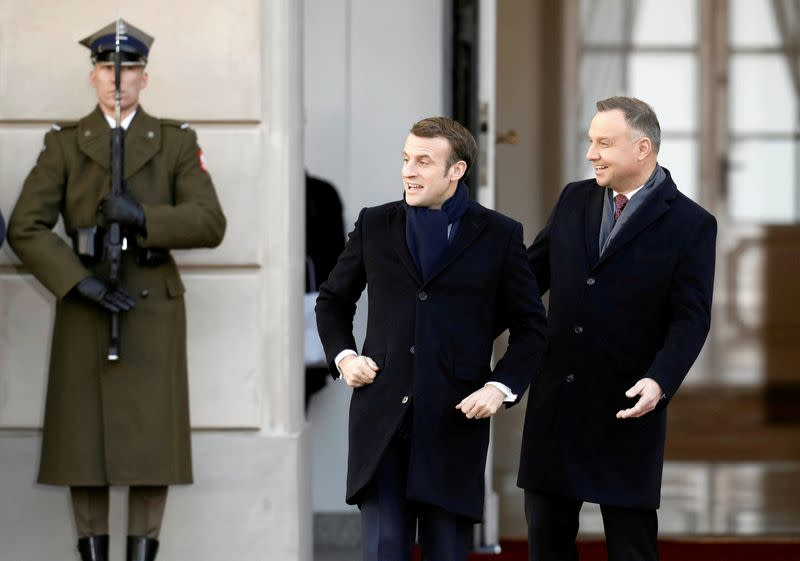 Macron emphasizes EU defense in bid to warm ties with Poland