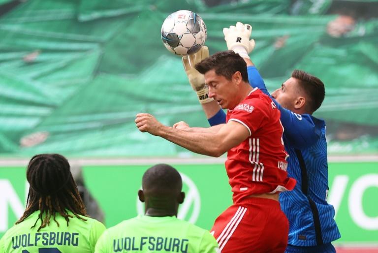 Robert Lewandowski in action for champions Bayern Munich in their 4-0 win at Wolfsburg on Saturday