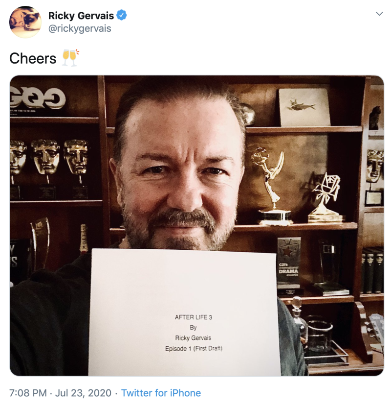 Photo credit: Ricky Gervais - Twitter