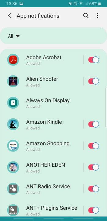 Screenshot of Samsung Galaxy S8 app notifications settings