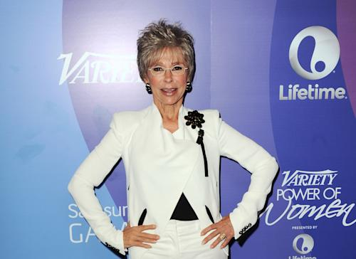 FILE - In this Oct. 4, 2013 file photo, actress Rita Moreno arrives at Variety's 5th Annual Power of Women event at the Beverly Wilshire Hotel, in Beverly Hills, Calif. Moreno is the 50th SAG Life Achievement recipient, to be honored at the Screen Actors Guild Awards, Saturday, Jan. 18, 2014, in Los Angeles. (Photo by Jordan Strauss/Invision/AP, File)
