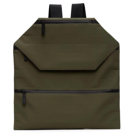 Issey Miyake men khaki galette backpack, 58% off. US$479 (was US$1139.55). PHOTO: Ssense