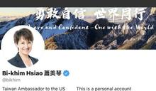 蕭美琴推特自稱「台灣駐美大使」 《環時》總編胡錫進質問:推特不該要求她更正嗎?