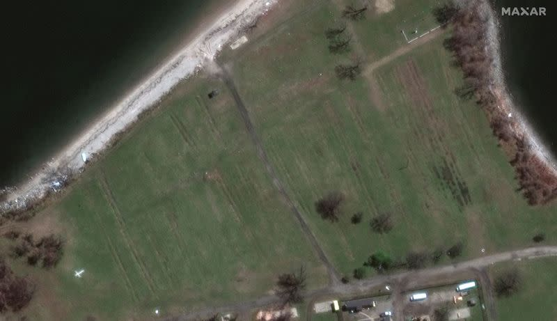 A satellite image shows the cemetery on New York's Hart Island