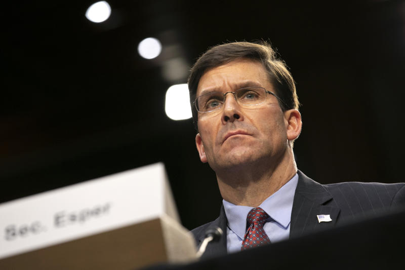 Defense Secretary Mark Esper testifies to the Senate Armed Services Committee about the budget, Wednesday, March 4, 2020, on Capitol Hill in Washington. (AP Photo/Jacquelyn Martin)