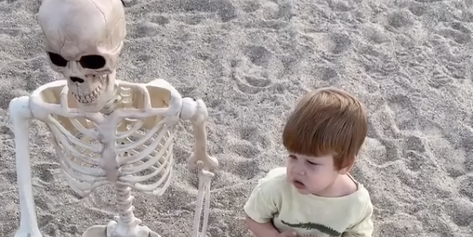 This 2-Year-Old Boy Refuses to Go Anywhere Without His BFF—Who's Actually a 5-Foot Skeleton