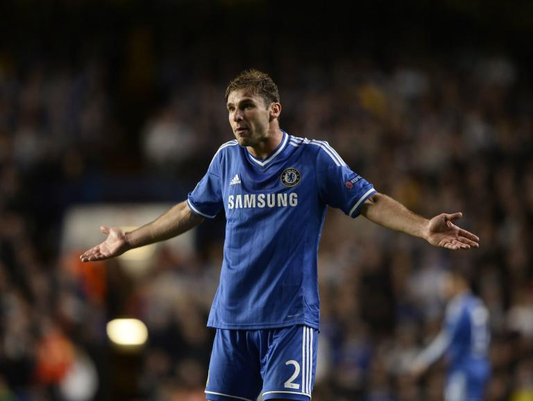 Chelsea's Ivanovic reacts during their Champions League soccer match against Basel at Stamford Bridge in London