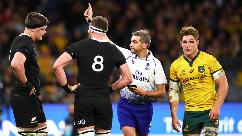Scott Barrett of New Zealand is shown the red card during the 2019 Rugby Championship Test Match between the Wallabies and the All Blacks at Optus Stadium on August 10, 2019 in Perth, Australia. (Photo by Cameron Spencer/Getty Images)